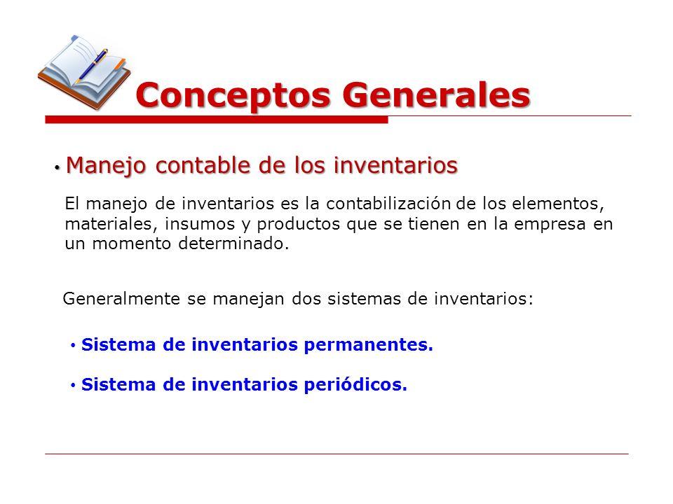 Conceptos Generales Manejo contable de los inventarios Manejo contable de los inventarios El manejo de inventarios es la contabilización de los elemen