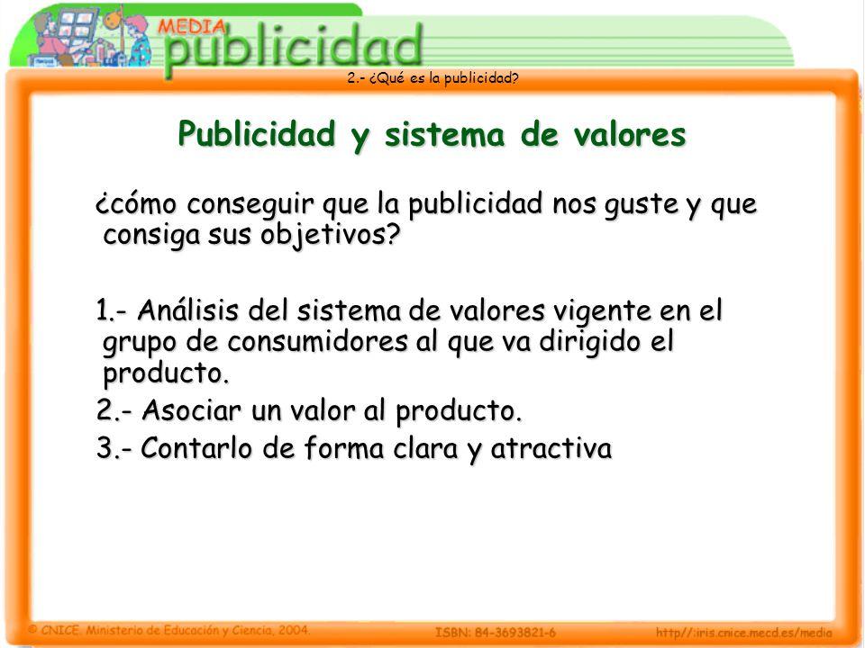 2.- ¿Qué es la publicidad? Publicidad y sistema de valores ¿cómo conseguir que la publicidad nos guste y que consiga sus objetivos? 1.- Análisis del s