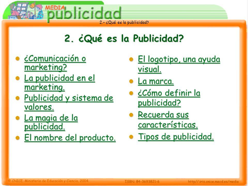 2.- ¿Qué es la publicidad? 2. ¿Qué es la Publicidad? ¿Comunicación o marketing? ¿Comunicación o marketing? ¿Comunicación o marketing? ¿Comunicación o