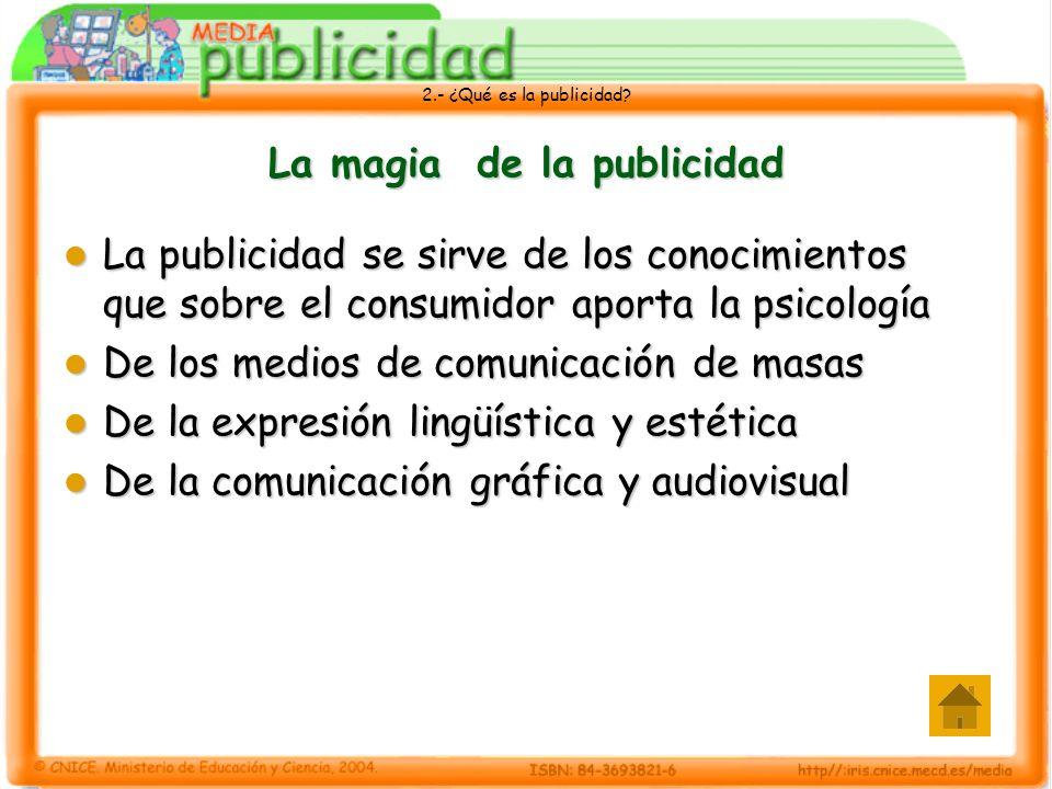 2.- ¿Qué es la publicidad? La magia de la publicidad La publicidad se sirve de los conocimientos que sobre el consumidor aporta la psicología La publi