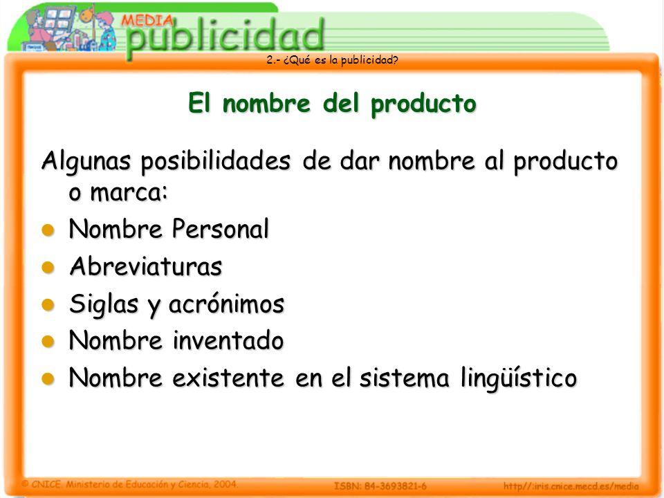 2.- ¿Qué es la publicidad? El nombre del producto Algunas posibilidades de dar nombre al producto o marca: Nombre Personal Nombre Personal Abreviatura