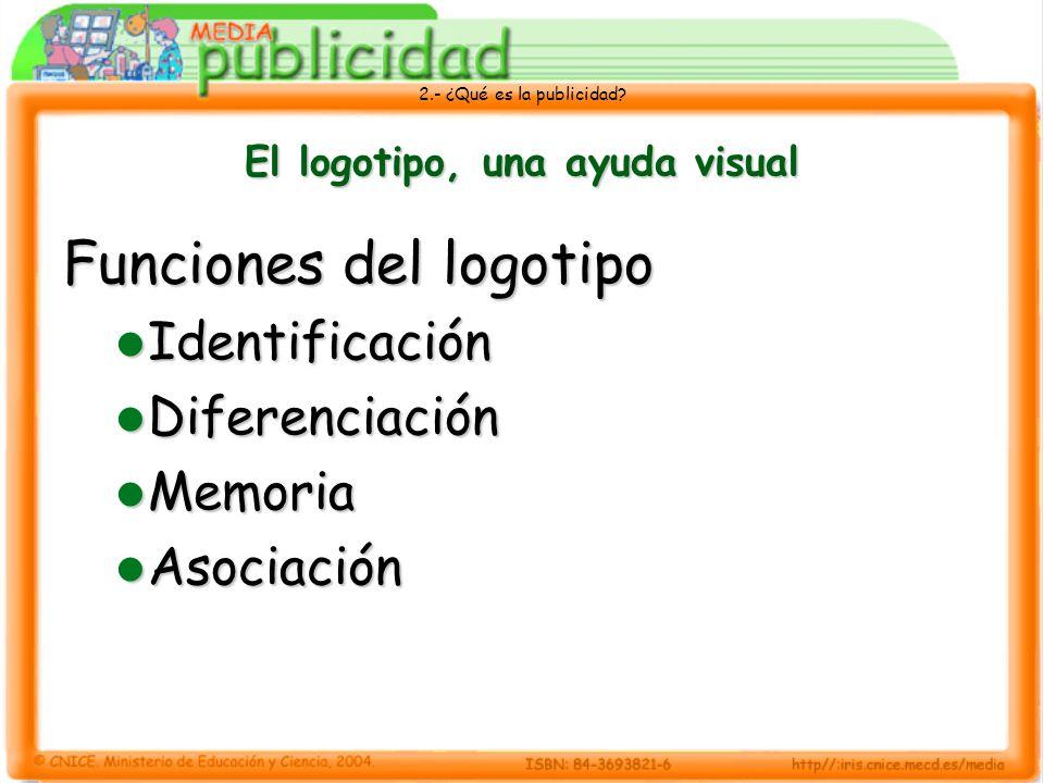 2.- ¿Qué es la publicidad? El logotipo, una ayuda visual Funciones del logotipo Identificación Identificación Diferenciación Diferenciación Memoria Me
