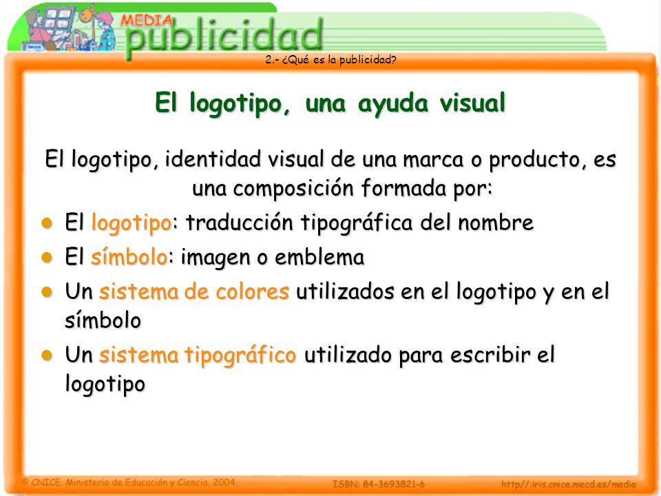 2.- ¿Qué es la publicidad? El logotipo, una ayuda visual El logotipo, identidad visual de una marca o producto, es una composición formada por: El log