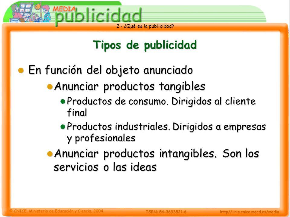 2.- ¿Qué es la publicidad? Tipos de publicidad En función del objeto anunciado En función del objeto anunciado Anunciar productos tangibles Anunciar p
