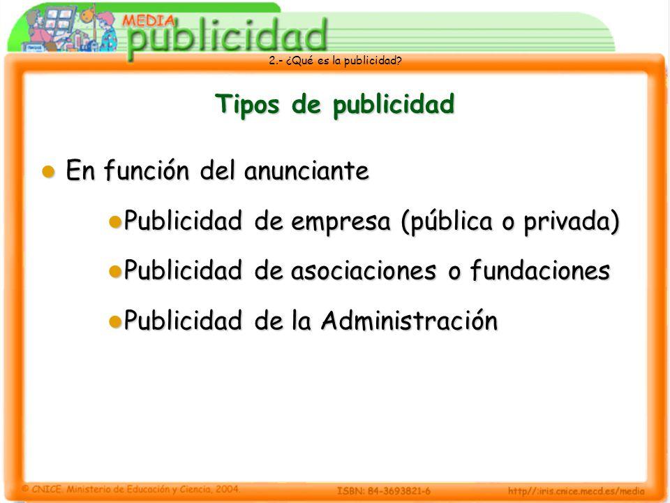 2.- ¿Qué es la publicidad? Tipos de publicidad En función del anunciante En función del anunciante Publicidad de empresa (pública o privada) Publicida