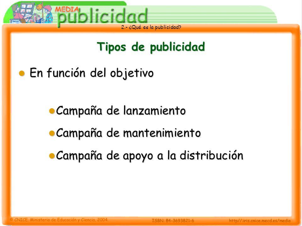 2.- ¿Qué es la publicidad? Tipos de publicidad En función del objetivo En función del objetivo Campaña de lanzamiento Campaña de lanzamiento Campaña d
