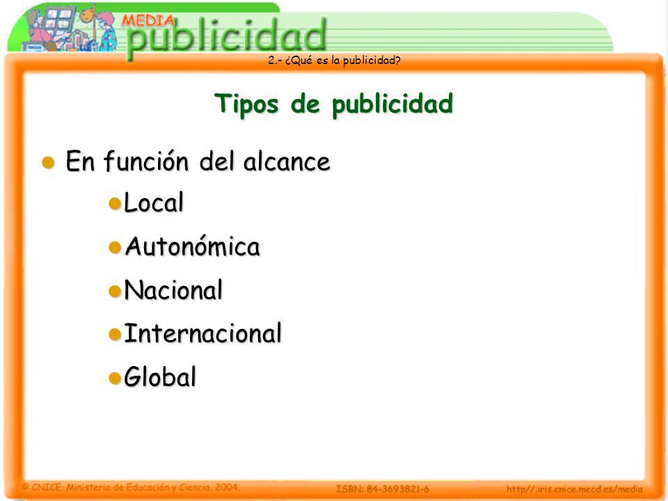 2.- ¿Qué es la publicidad? Tipos de publicidad En función del alcance En función del alcance Local Local Autonómica Autonómica Nacional Nacional Inter