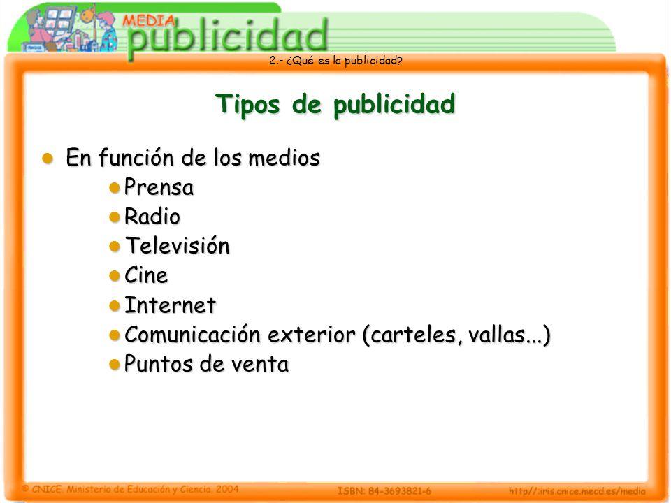 2.- ¿Qué es la publicidad? Tipos de publicidad En función de los medios En función de los medios Prensa Prensa Radio Radio Televisión Televisión Cine