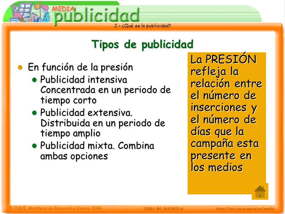 2.- ¿Qué es la publicidad? Tipos de publicidad En función de la presión En función de la presión Publicidad intensiva Concentrada en un periodo de tie