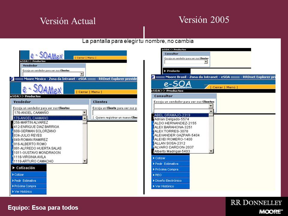 Equipo: Esoa para todos La pantalla para elegir tu nombre, no cambia Versión Actual Versión 2005