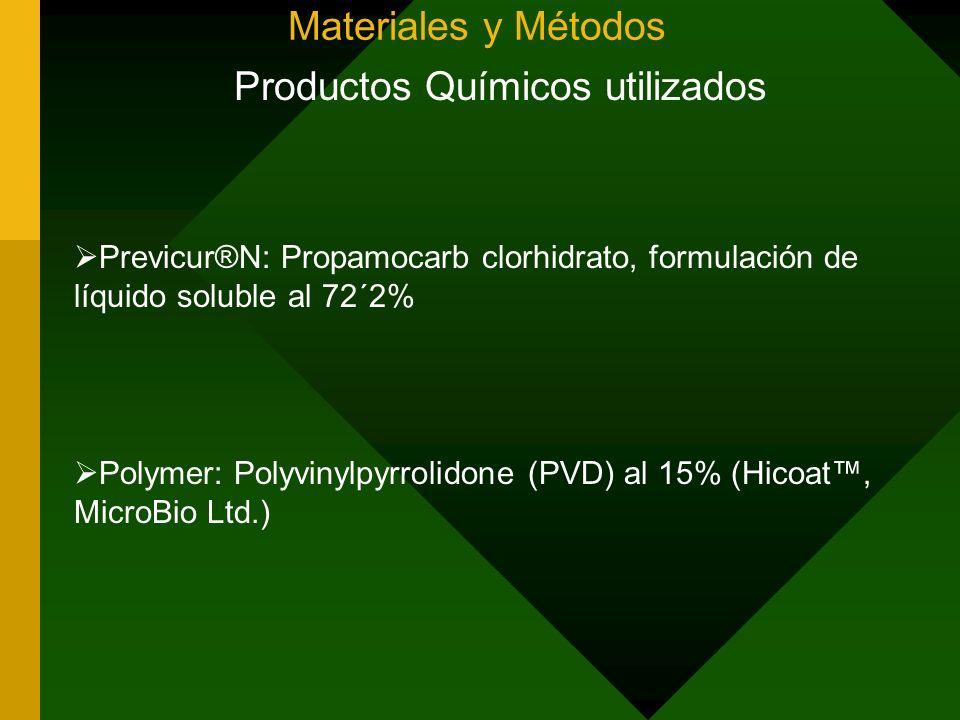 Materiales y Métodos Productos Químicos utilizados Previcur®N: Propamocarb clorhidrato, formulación de líquido soluble al 72´2% Polymer: Polyvinylpyrr