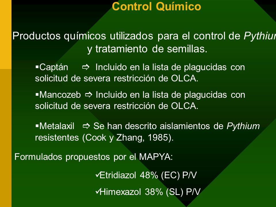 Control Químico Productos químicos utilizados para el control de Pythium y tratamiento de semillas. Captán Incluido en la lista de plagucidas con soli
