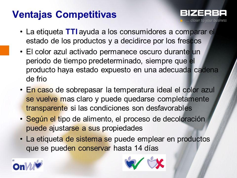 31.10.2000 Ventajas Competitivas La etiqueta TTI ayuda a los consumidores a comparar el estado de los productos y a decidirce por los frescos El color