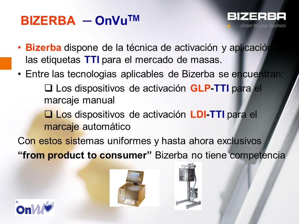 31.10.2000 BIZERBA OnVu TM Bizerba dispone de la técnica de activación y aplicación de las etiquetas TTI para el mercado de masas. Entre las tecnologi
