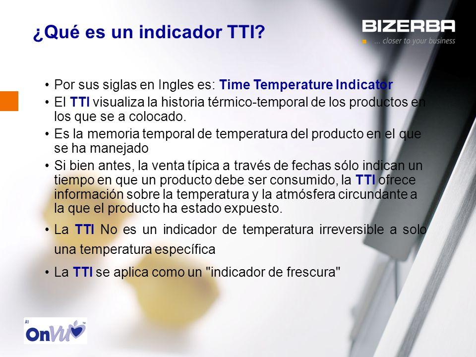 ¿Qué es un indicador TTI? Por sus siglas en Ingles es: Time Temperature Indicator El TTI visualiza la historia térmico-temporal de los productos en lo