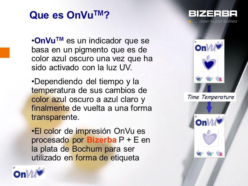 31.10.2000 Que es OnVu TM ? Time Temperature OnVu TM es un indicador que se basa en un pigmento que es de color azul oscuro una vez que ha sido activa