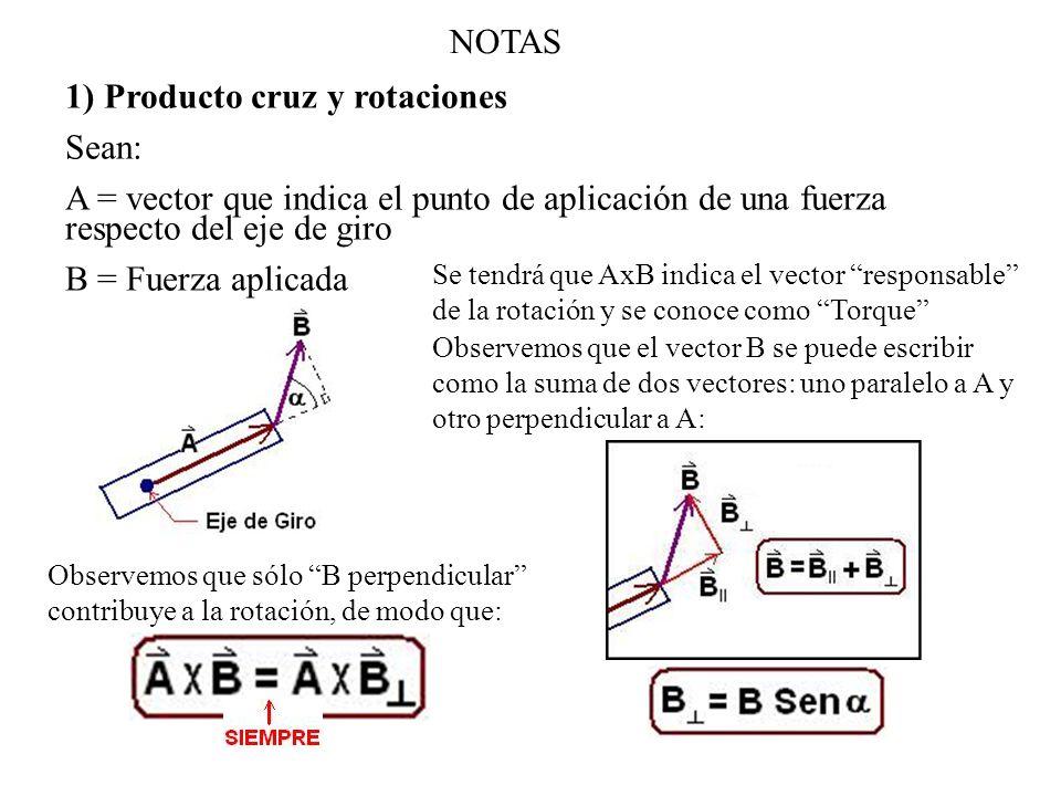 NOTAS 1) Producto cruz y rotaciones Sean: A = vector que indica el punto de aplicación de una fuerza respecto del eje de giro B = Fuerza aplicada Se t