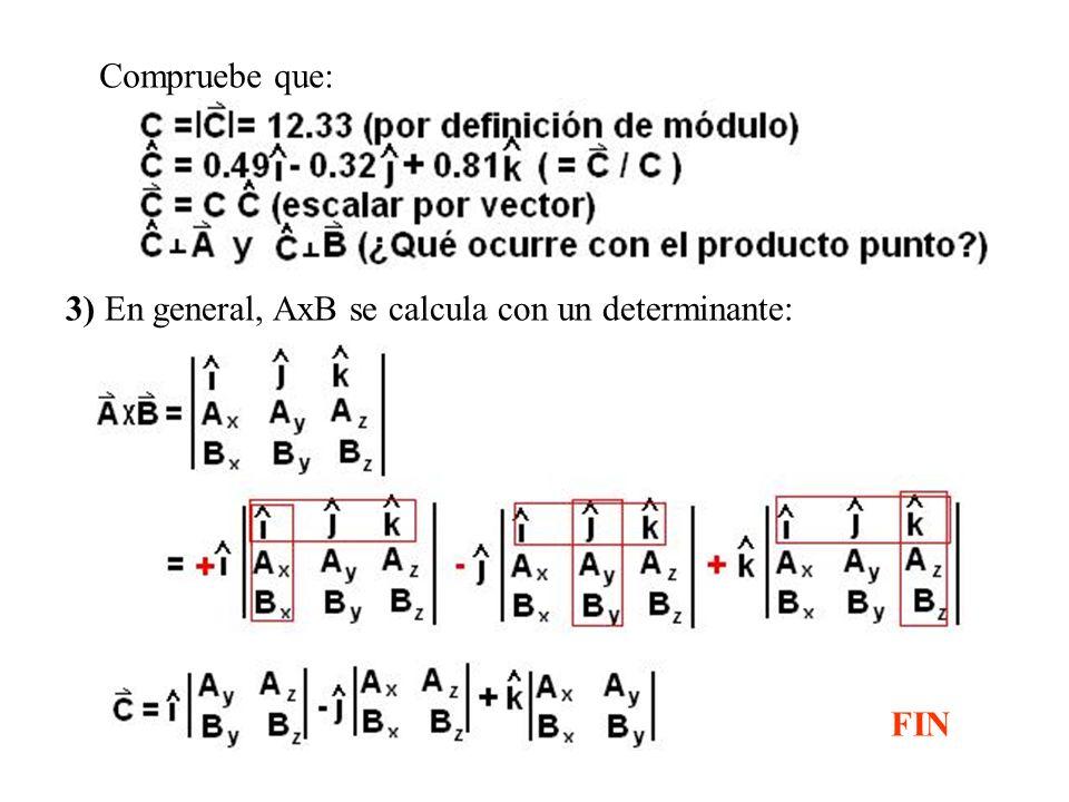 Compruebe que: 3) En general, AxB se calcula con un determinante: FIN