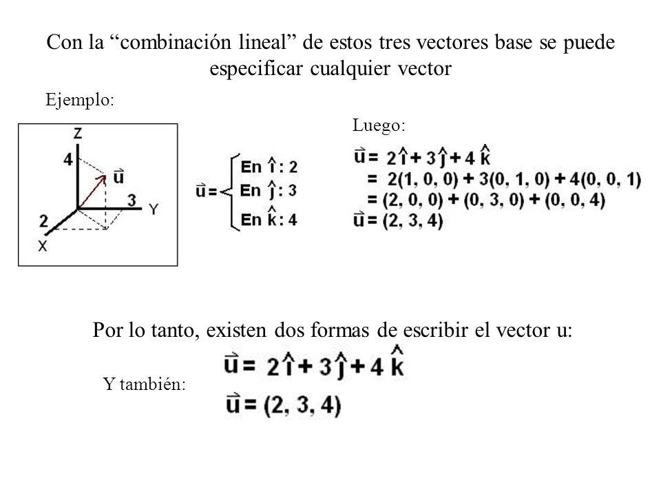 Con la combinación lineal de estos tres vectores base se puede especificar cualquier vector Ejemplo: Luego: Por lo tanto, existen dos formas de escrib