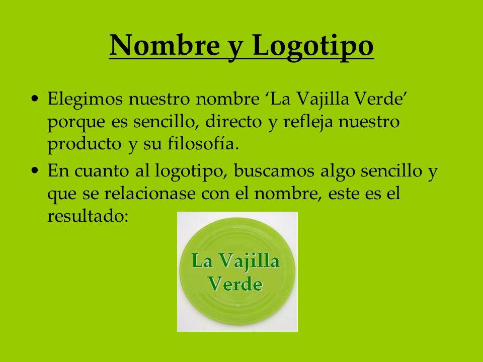 Nombre y Logotipo Elegimos nuestro nombre La Vajilla Verde porque es sencillo, directo y refleja nuestro producto y su filosofía. En cuanto al logotip