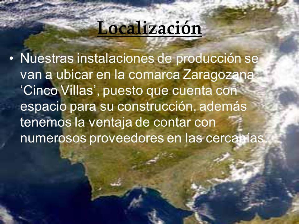 Localización Nuestras instalaciones de producción se van a ubicar en la comarca Zaragozana Cinco Villas, puesto que cuenta con espacio para su constru