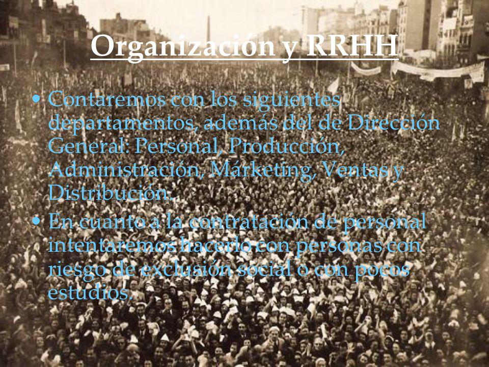 Organización y RRHH Contaremos con los siguientes departamentos, además del de Dirección General: Personal, Producción, Administración, Márketing, Ven