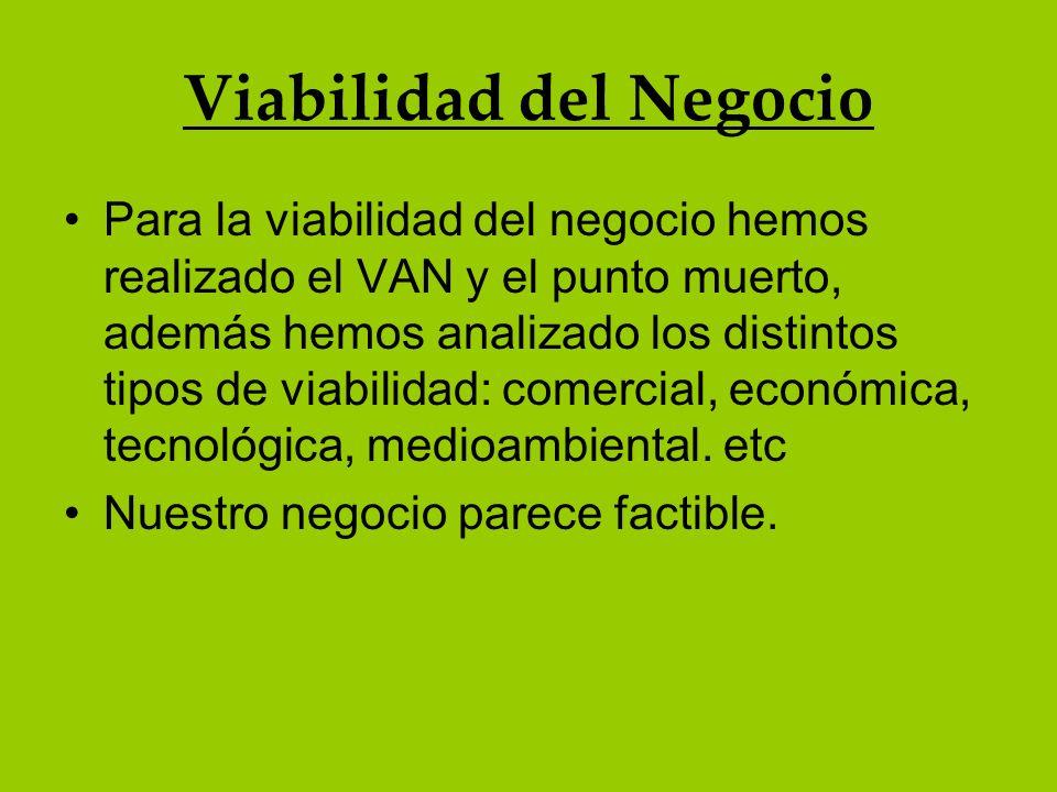 Viabilidad del Negocio Para la viabilidad del negocio hemos realizado el VAN y el punto muerto, además hemos analizado los distintos tipos de viabilid