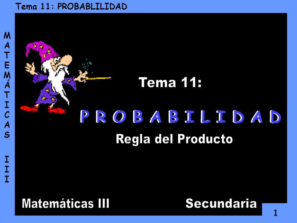 11 Tema 11: PROBABLILIDAD MATEMÁTICAS IIIMATEMÁTICAS III En otras situaciones más sencillas, podemos efectuar el cálculo de probabilidades utilizando los Diagramas de Árbol.