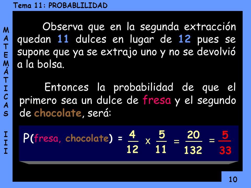 9 Tema 11: PROBABLILIDAD MATEMÁTICAS IIIMATEMÁTICAS III En la primera extracción, la probabilidad de que sea un dulce de fresa es: La probabilidad de