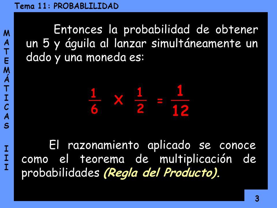 3 Tema 11: PROBABLILIDAD MATEMÁTICAS IIIMATEMÁTICAS III Entonces la probabilidad de obtener un 5 y águila al lanzar simultáneamente un dado y una moneda es: El razonamiento aplicado se conoce como el teorema de multiplicación de probabilidades (Regla del Producto).