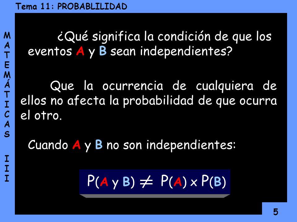 4 Tema 11: PROBABLILIDAD MATEMÁTICAS IIIMATEMÁTICAS III Si la probabilidad de que ocurra un evento A es P(A) y la probabilidad de que ocurra un evento