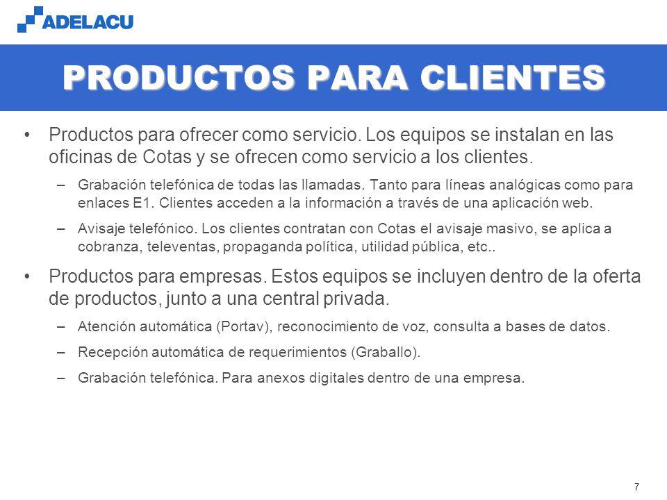 www.adelacu.com 7 PRODUCTOS PARA CLIENTES Productos para ofrecer como servicio.