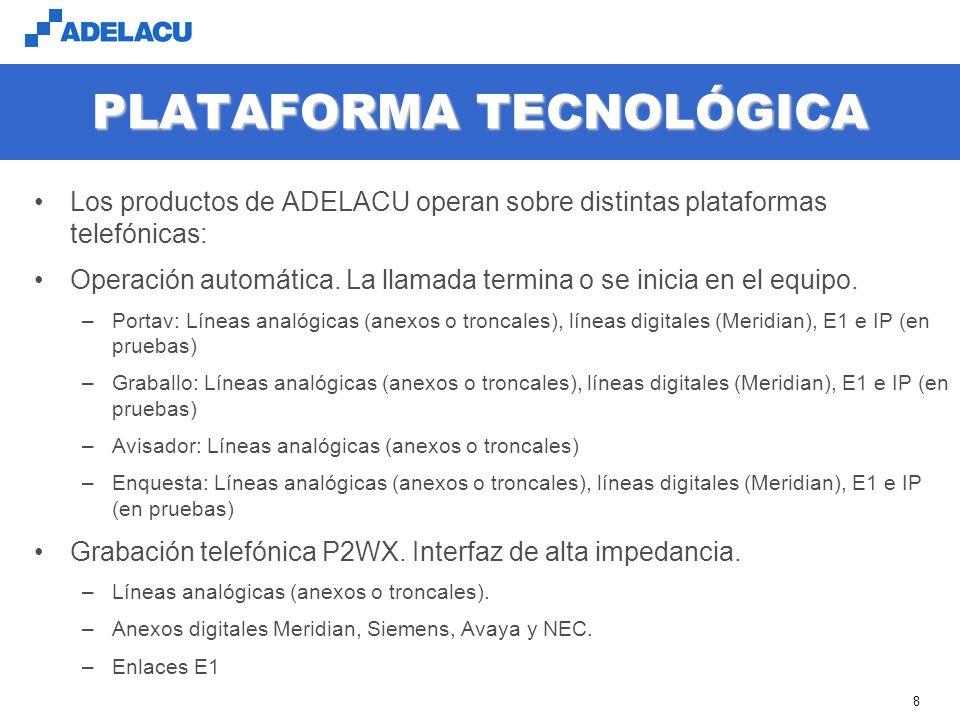 www.adelacu.com 8 PLATAFORMA TECNOLÓGICA Los productos de ADELACU operan sobre distintas plataformas telefónicas: Operación automática.