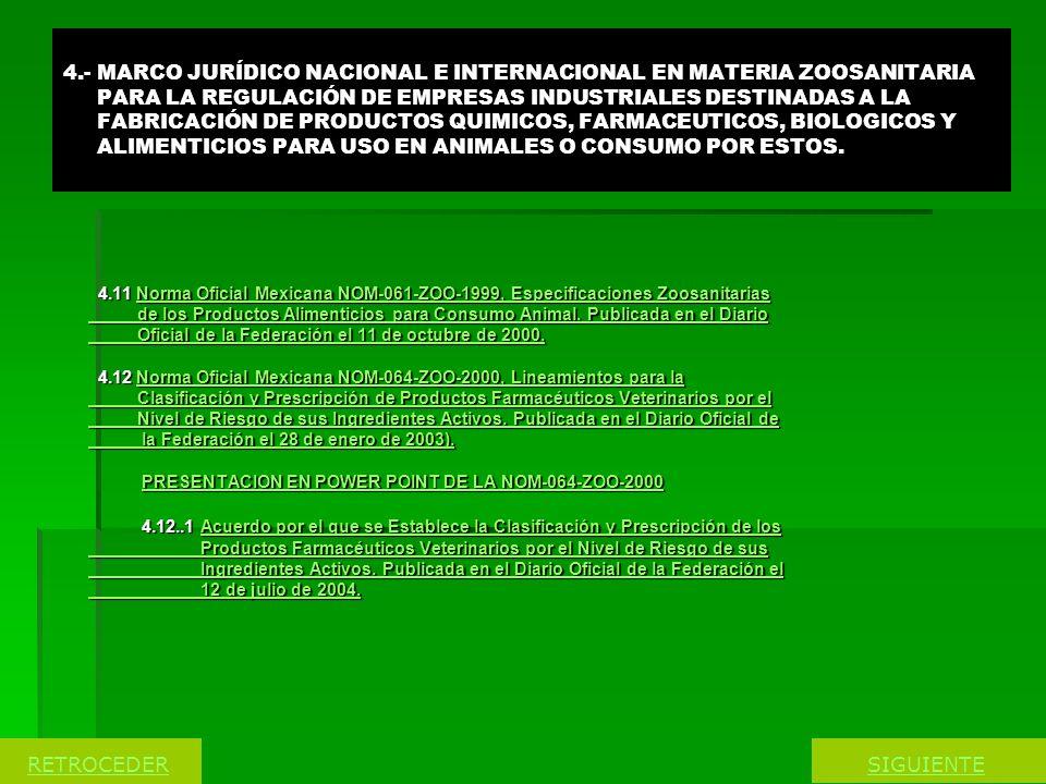 4.- MARCO JURÍDICO NACIONAL E INTERNACIONAL EN MATERIA ZOOSANITARIA PARA LA REGULACIÓN DE EMPRESAS INDUSTRIALES DESTINADAS A LA FABRICACIÓN DE PRODUCTOS QUIMICOS, FARMACEUTICOS, BIOLOGICOS Y ALIMENTICIOS PARA USO EN ANIMALES O CONSUMO POR ESTOS.