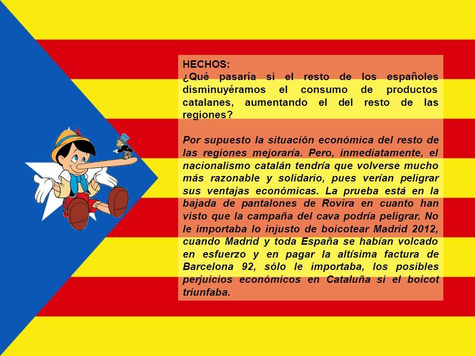HECHOS: ¿Boicotean los separatistas catalanes los productos del resto de España? No directamente, porque sería una provocación y saldrían perdiendo, p