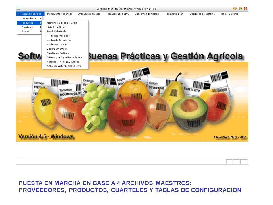 PUESTA EN MARCHA EN BASE A 4 ARCHIVOS MAESTROS: PROVEEDORES, PRODUCTOS, CUARTELES Y TABLAS DE CONFIGURACION
