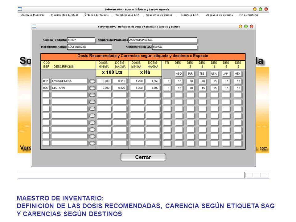 MAESTRO DE INVENTARIO: DEFINICION DE LAS DOSIS RECOMENDADAS, CARENCIA SEGÚN ETIQUETA SAG Y CARENCIAS SEGÚN DESTINOS
