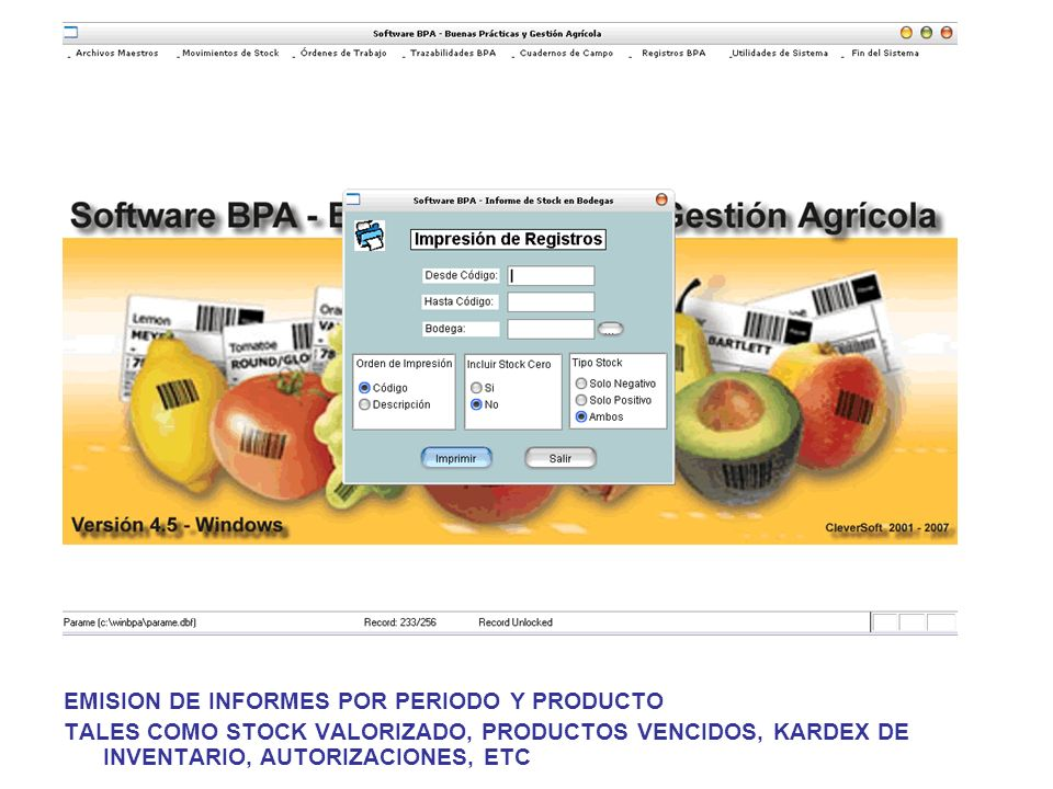 EMISION DE INFORMES POR PERIODO Y PRODUCTO TALES COMO STOCK VALORIZADO, PRODUCTOS VENCIDOS, KARDEX DE INVENTARIO, AUTORIZACIONES, ETC