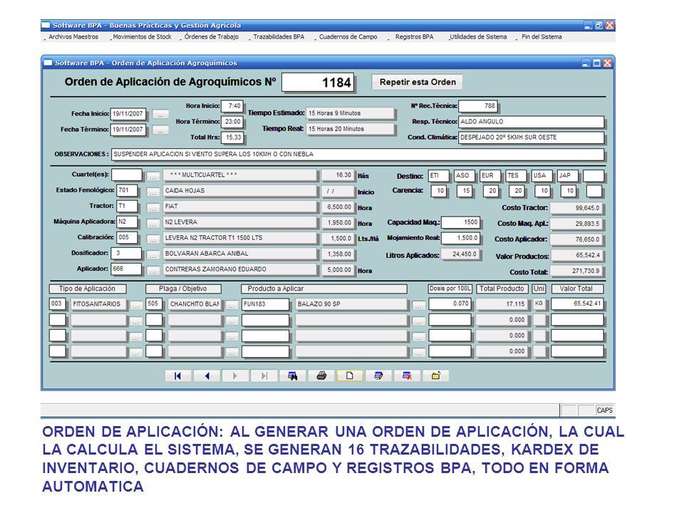ORDEN DE APLICACIÓN: AL GENERAR UNA ORDEN DE APLICACIÓN, LA CUAL LA CALCULA EL SISTEMA, SE GENERAN 16 TRAZABILIDADES, KARDEX DE INVENTARIO, CUADERNOS