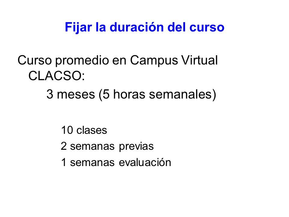 Fijar la duración del curso Curso promedio en Campus Virtual CLACSO: 3 meses (5 horas semanales) 10 clases 2 semanas previas 1 semanas evaluación