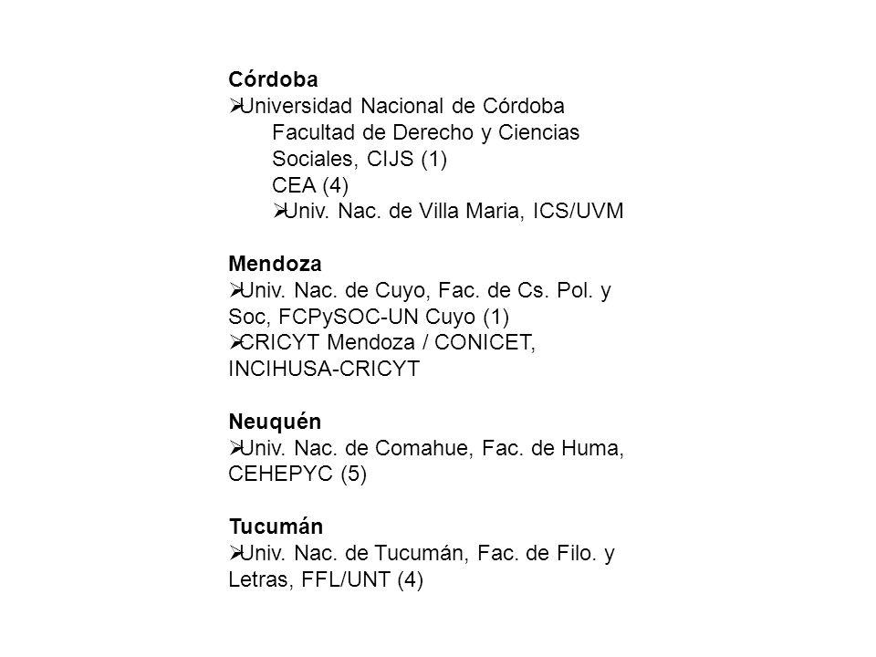 Córdoba Universidad Nacional de Córdoba Facultad de Derecho y Ciencias Sociales, CIJS (1) CEA (4) Univ.