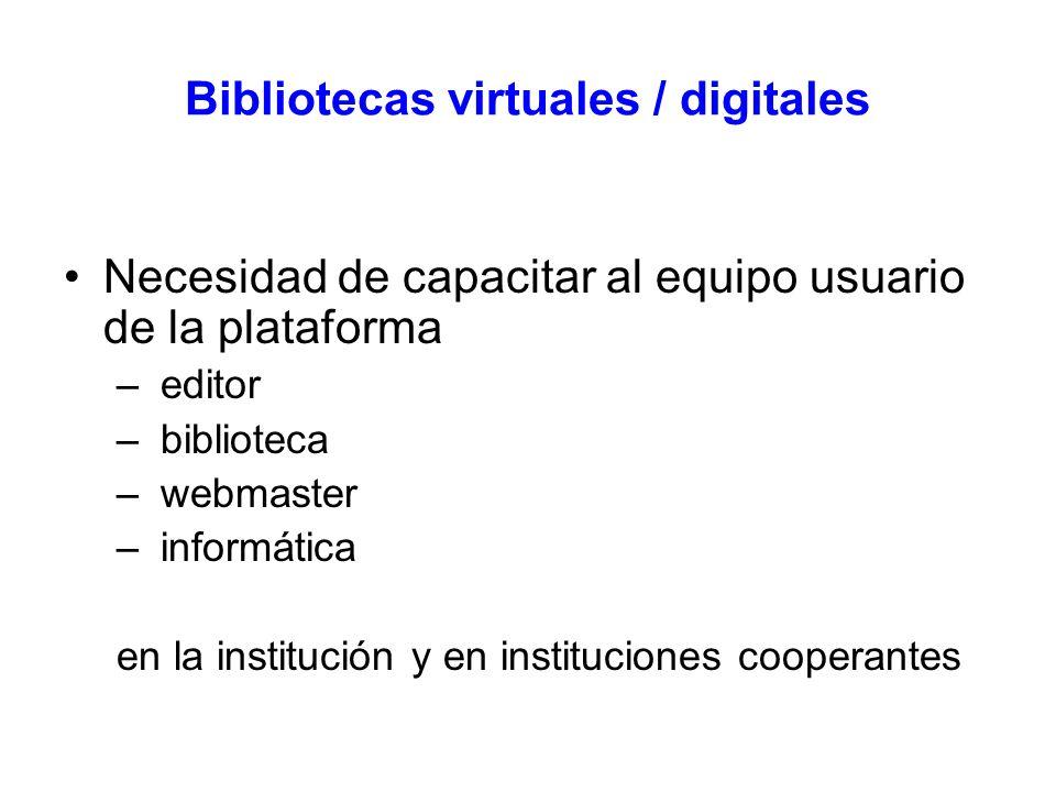 Bibliotecas virtuales / digitales Necesidad de capacitar al equipo usuario de la plataforma – editor – biblioteca – webmaster – informática en la institución y en instituciones cooperantes