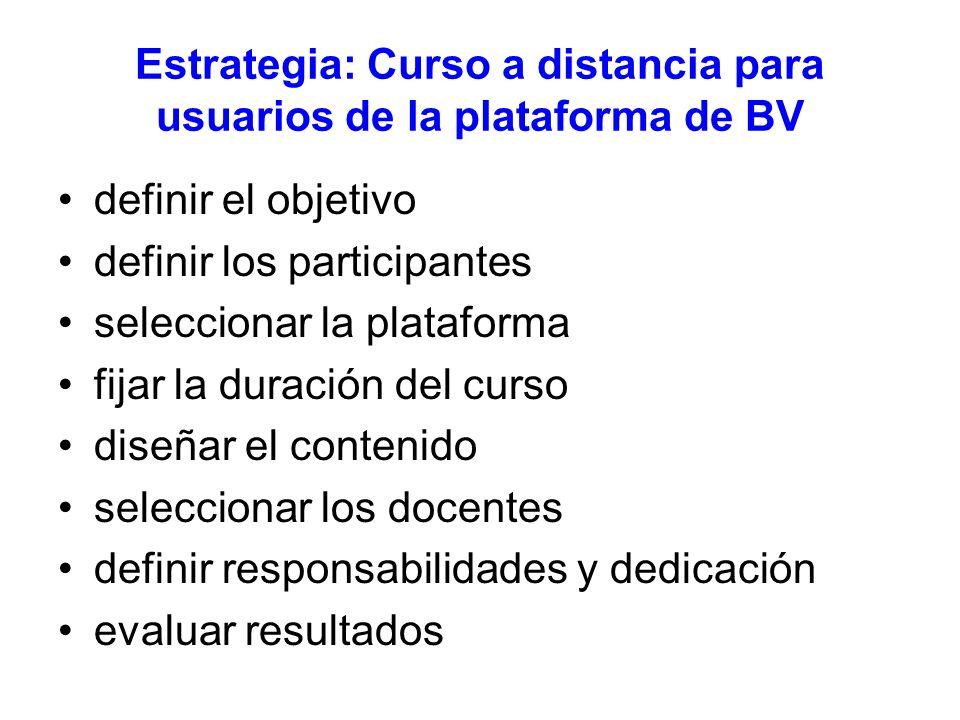 Estrategia: Curso a distancia para usuarios de la plataforma de BV definir el objetivo definir los participantes seleccionar la plataforma fijar la duración del curso diseñar el contenido seleccionar los docentes definir responsabilidades y dedicación evaluar resultados