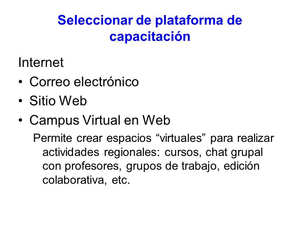 Seleccionar de plataforma de capacitación Internet Correo electrónico Sitio Web Campus Virtual en Web Permite crear espacios virtuales para realizar actividades regionales: cursos, chat grupal con profesores, grupos de trabajo, edición colaborativa, etc.