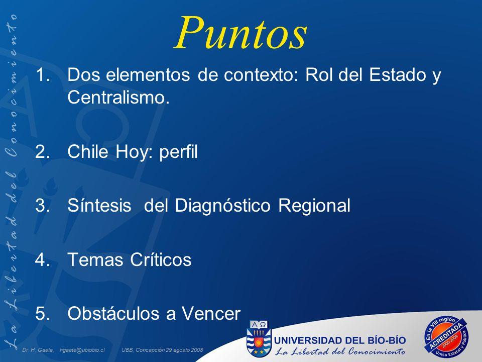UBB, Concepción 29 agosto 2008 Puntos 1.Dos elementos de contexto: Rol del Estado y Centralismo. 2.Chile Hoy: perfil 3.Síntesis del Diagnóstico Region