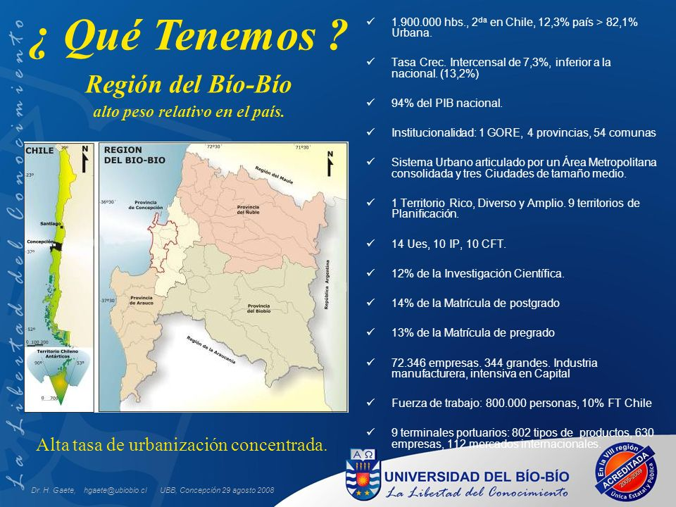 UBB, Concepción 29 agosto 2008 1.900.000 hbs., 2 da en Chile, 12,3% país > 82,1% Urbana. Tasa Crec. Intercensal de 7,3%, inferior a la nacional. (13,2