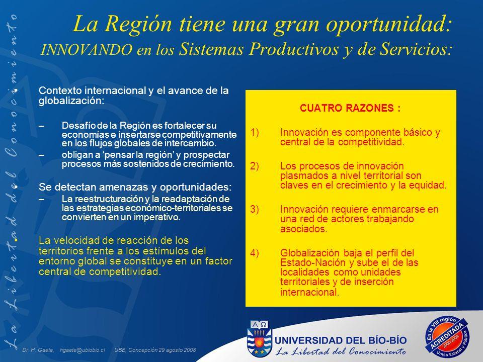 UBB, Concepción 29 agosto 2008 La Región tiene una gran oportunidad: INNOVANDO en los Sistemas Productivos y de Servicios: CUATRO RAZONES : 1)Innovación es componente básico y central de la competitividad.