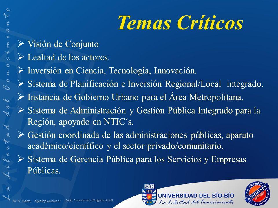 UBB, Concepción 29 agosto 2008 Temas Críticos Visión de Conjunto Lealtad de los actores. Inversión en Ciencia, Tecnología, Innovación. Sistema de Plan
