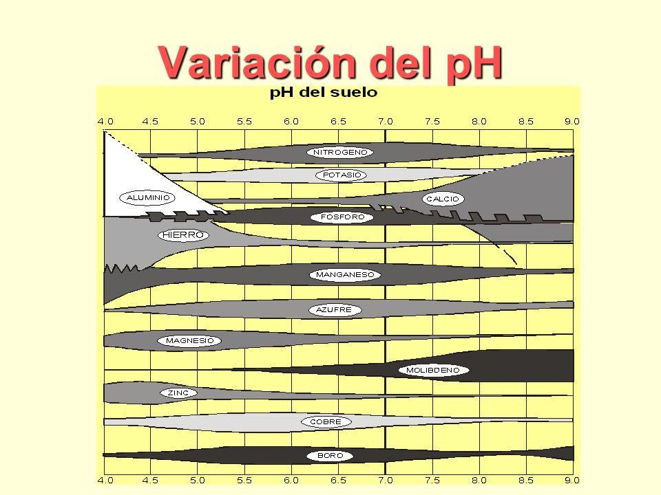 Variación del pH