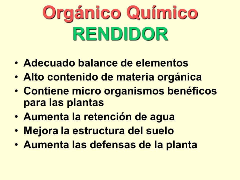 Orgánico Químico RENDIDOR Adecuado balance de elementos Alto contenido de materia orgánica Contiene micro organismos benéficos para las plantas Aumenta la retención de agua Mejora la estructura del suelo Aumenta las defensas de la planta